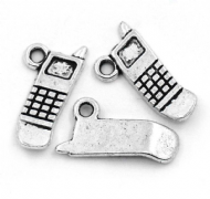 10 x Antique Silver Mobile Cell Phone Charm Pendants
